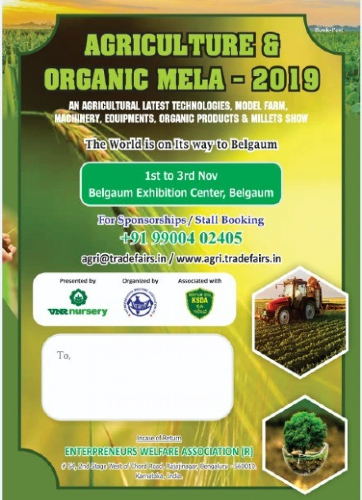 Agriculture & Organic Mela 2019 @ Belgaum Exhibition Center